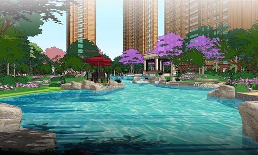 深圳某住宅区景观设计方案效果图