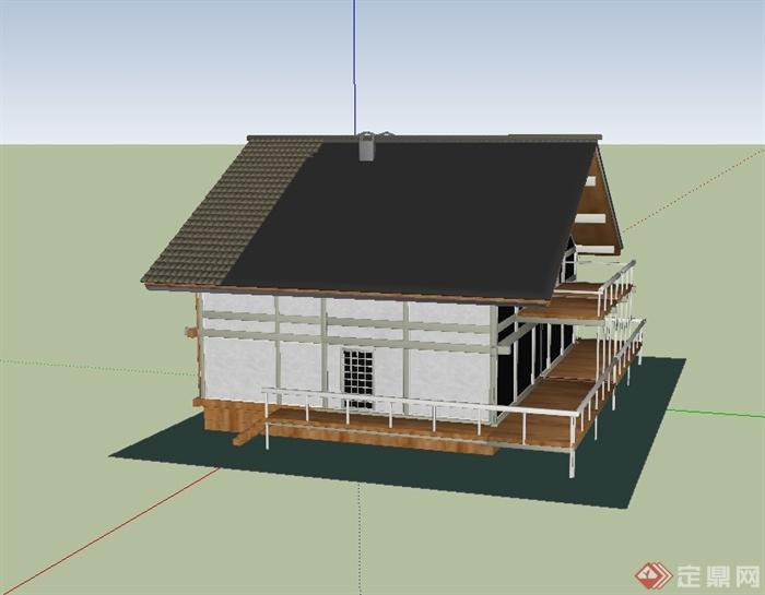 现代中式小别墅楼建筑设计su模型[原创][Mode曲靖别墅气象局图片