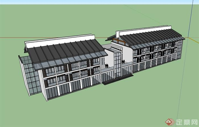 新中式多层商业楼建筑设计su模型[原创]