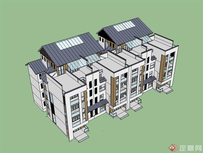 新中式风格花园洋房小区建筑设计su模型(1)