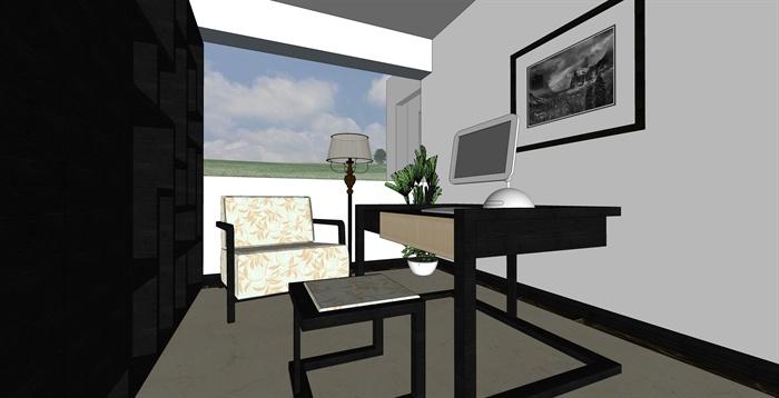 簡約中式風格住宅室內裝修su模型[原創]