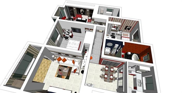 现代简约三室两厅室内住宅设计su模型[原创]