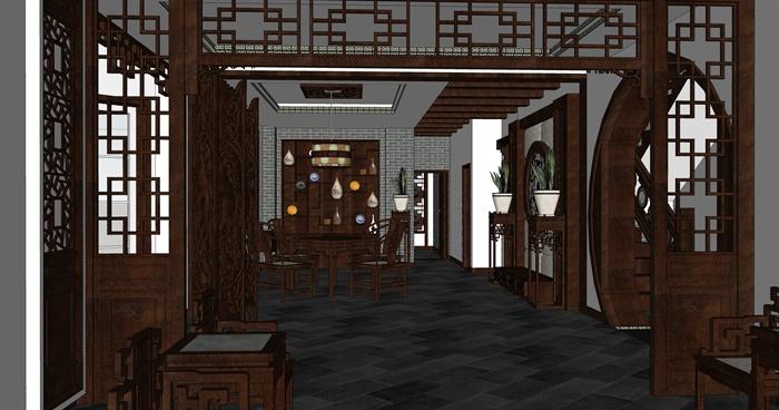 古典中式别墅室内设计su模型