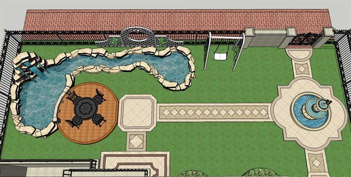 某欧式风格精品别墅建筑及庭院花园设计su模型