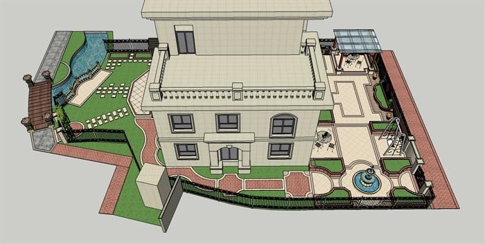 某欧式风格精品别墅花园设计su模型