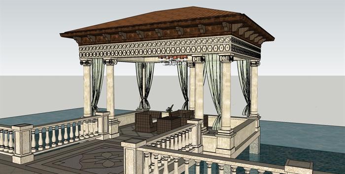 欧式风格别墅建筑及庭院景观su模型