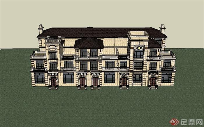 某欧式风格精致联排住宅楼建筑设计su模型,模型为欧式风格,模型制作详细精致完整,模型有材质贴图,具有很好的使用价值,有需要请自行下载使用。