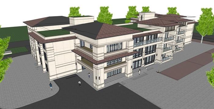 新古典三层幼儿园建筑设计su模型[原创]