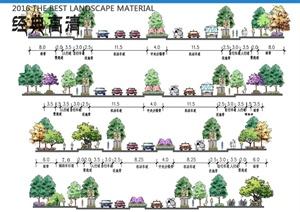 某现代风格道路断面图PSD、道路平面图PSD方案图