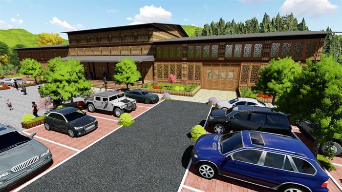 中式风格停车场建筑景观设计((效果图,psd,su)[原创]图片