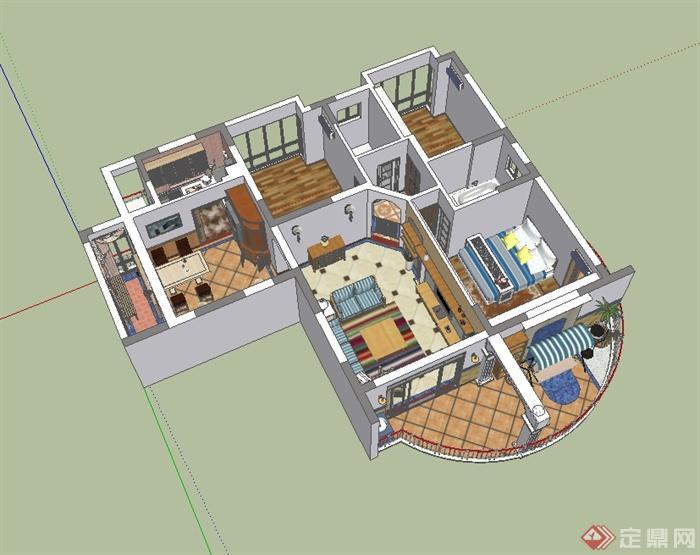 某现代风格精致完整制作空间室内装饰设计su模型含阳台(2)