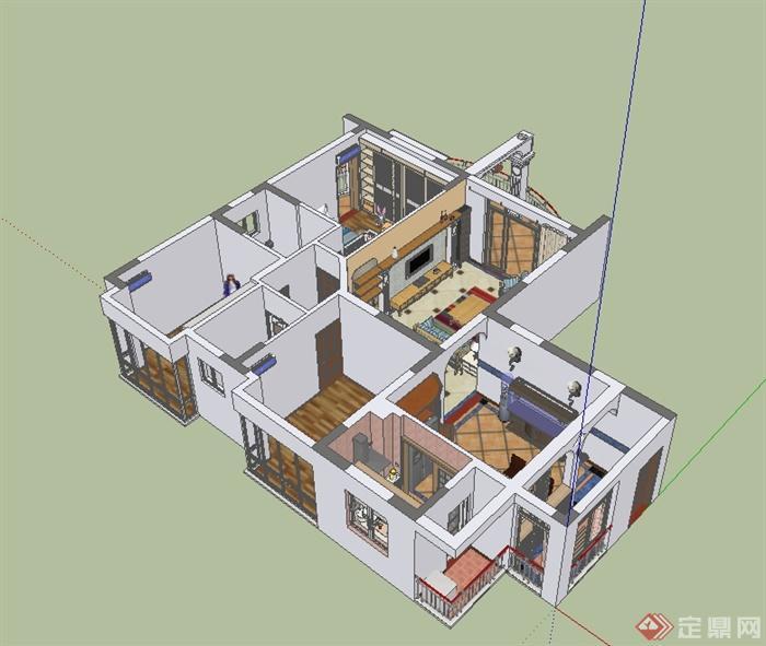 某现代风格精致完整制作空间室内装饰设计su模型含阳台,模型为现代风格,模型制作详细精致完整,模型有材质贴图,具有很好的使用价值,有需要请自行下载使用。