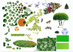 植物、水景、小品、汽车等psd平面素材