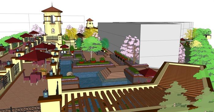 欧式风格详细精致住宅小区中庭景观设计su模型[原创]