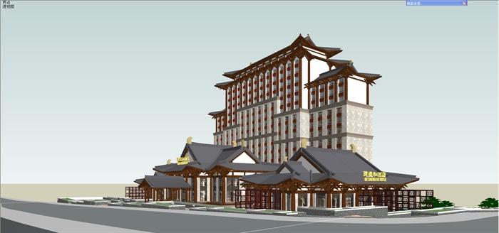 某现代中式风格精致详细酒店建筑设计su模型图片