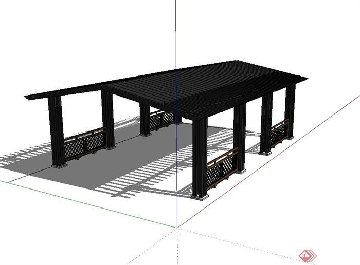 某现代中式风格长廊架设计su模型(2)
