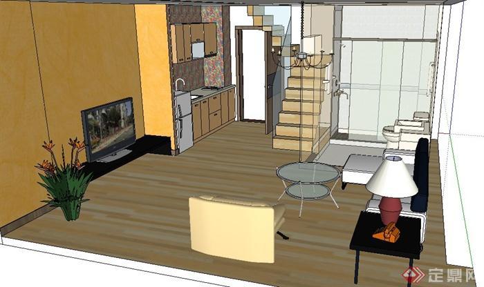现代简约复式住宅室内装修设计su模型[原创]
