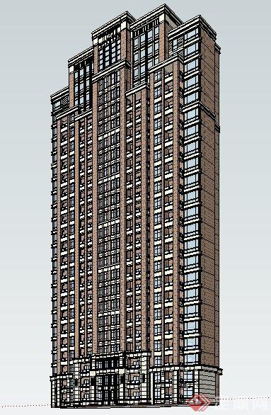 简约新古典高层住宅楼建筑设计su模型(1)