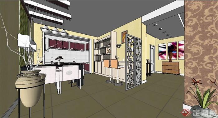 現代簡約三居室住宅室內裝修su模型[原創]