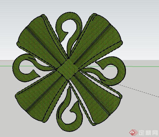 花瓣状花池种植图案su模型图片