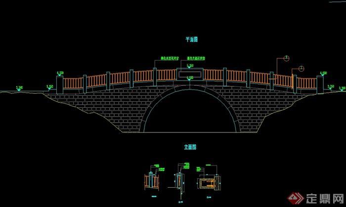 现代中式风格石拱桥设计cad施工图[原创]
