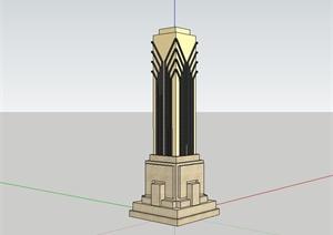 现代风格景观柱子设计SU(草图大师)模型