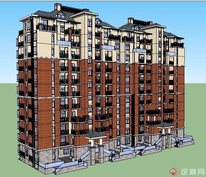 欧式风格小高层拼接住宅楼建筑设计su模型(2)