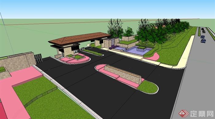 某欧式风格小区入口大门及景观设计su模型(1)