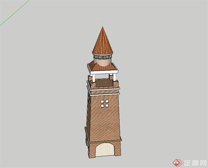 欧式风格塔楼设计su模型[原创]