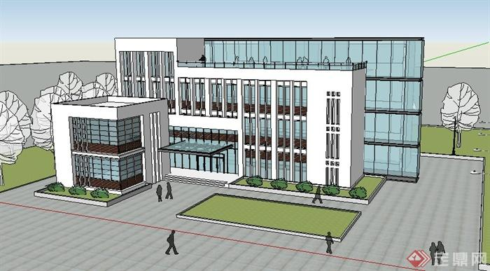 某现代风格4层办公楼建筑设计su模型(1)