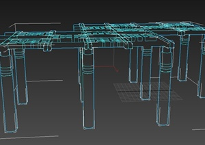 某现代风格精致廊架设计3d模型