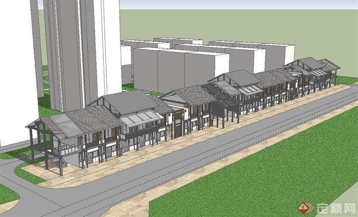 新中式风格商业街建筑楼su模型(1)图片