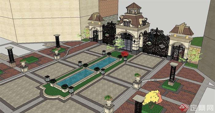 某欧式风格住宅入口景观设计SU模型,模型制作详细精致完整,模型有材质贴图,可直接下载用于相关小区设计使用,具有很好的使用价值,有需要请自行下载使用。