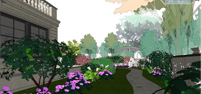 法式别墅小区建筑及景观设计su模型图片