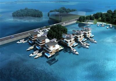 某现代风格帕劳水上别墅建筑设计su模型含cad方案