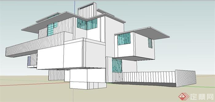现代风格几何体别墅建筑设计su模型[原创]