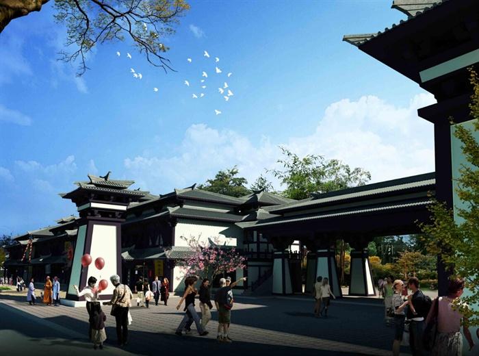 仿古汉代商业街建筑设计su模型[原创]图片