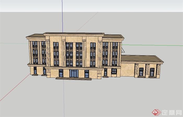 现代中式风格多层办公楼建筑设计su模型[原创]