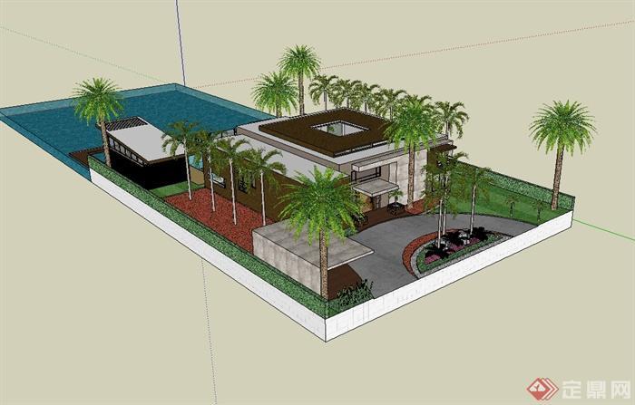 现代风格海边别墅建筑设计su模型[原创]