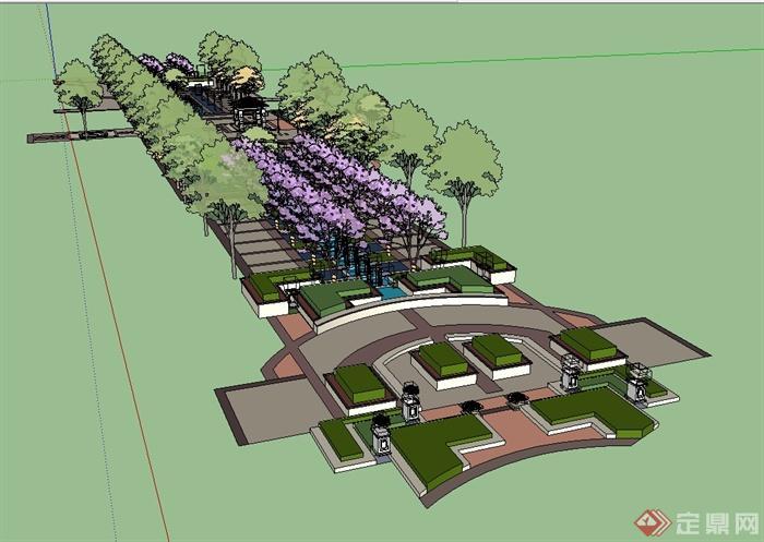 某欧式风格小区中庭景观设计su模型[原创]