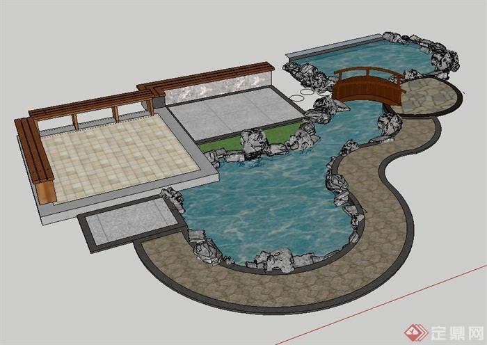 现代中式风格太湖石水池平台场景su组合