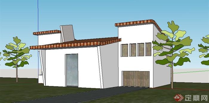 简约现代单层住宅小屋su模型[原创]