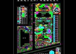 某现代电子元件厂环境绿化设计cad方案图