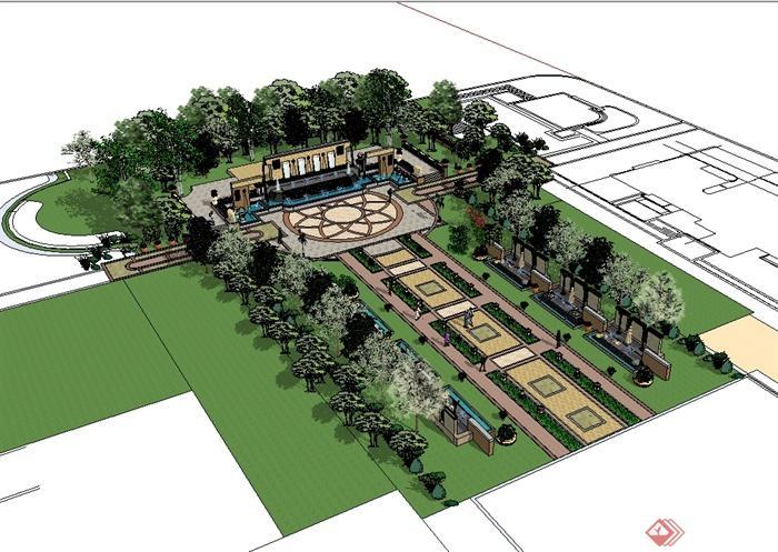 欧风格住宅小区中庭景观设计su模型图片