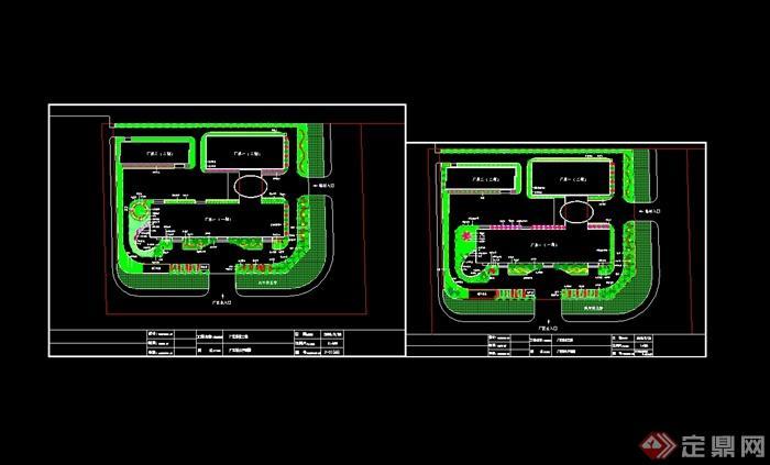 某现代风格工厂园林规划设计cad平面图
