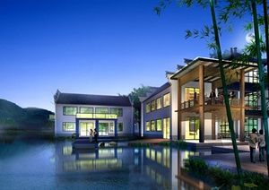 某现代风格邻水别墅住宅景观psd效果图