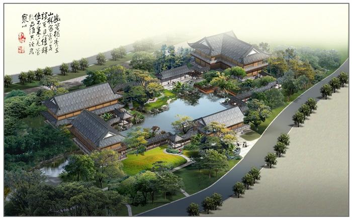 古典中式古园林庭院设计psd效果图