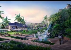 某美式风格山体别墅景观设计psd效果图