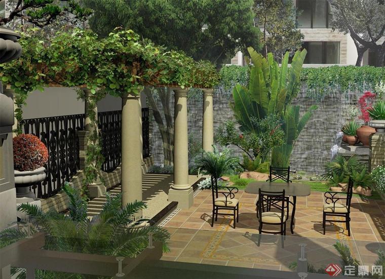 庭院北端的设计,简约欧式的花架设计,在墙角处设计了小型的瀑布,以