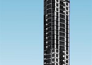 现代高层新闻广播中心建筑设计SU(草图大师)模型